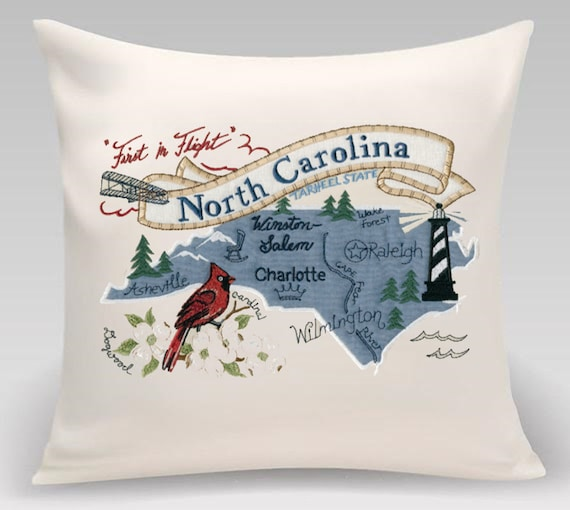 North Carolina Embroidered Pillow Featuring Iconic Landmarks Etsy