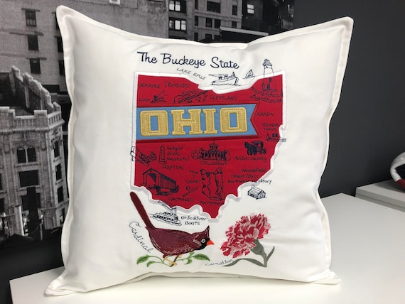 Ohio - Embroidered pillow featuring iconic landmarks with the state bird and flower - Housewarming gift - handmade - Wedding gift