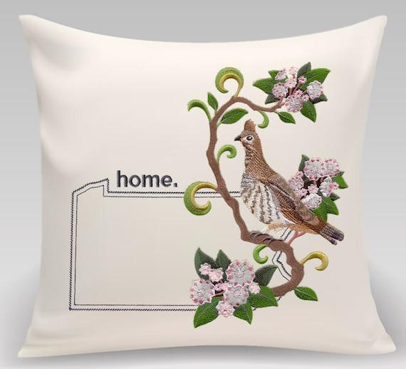 Pennsylvania Embroidered  Ruffed Grouse and Mountain Laurel Medley-Handmade-Home Decor-Housewarming gift- Wedding gift