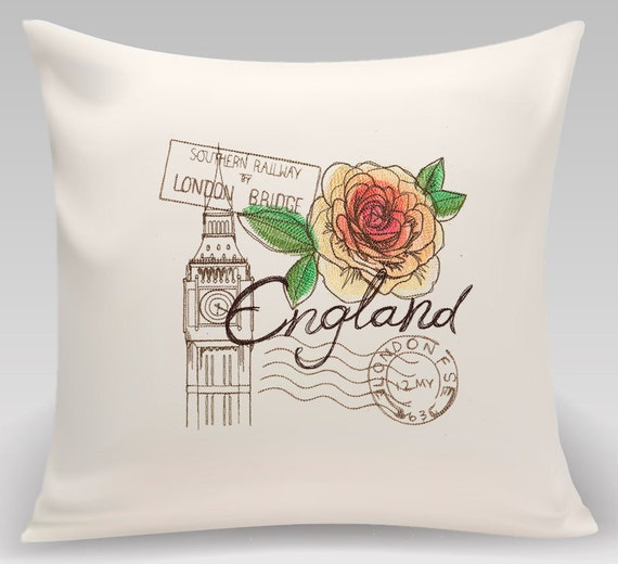 England - Embroidered decorative pillow - Home decor - Home and Living 16 x 16 with feather insert