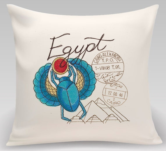 Egypt-Embroidered decorative pillow - 16 inch pillow with choice of insert - Home decor-Princeton Threads