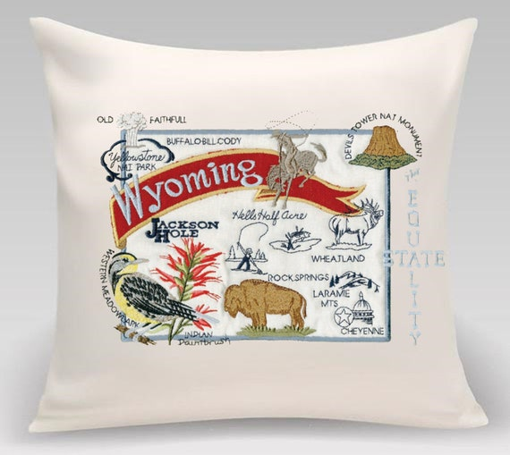 Wyoming pillow- Embroidered- USA State pillow- Equality State- Home decor- Decorative pillow- Princeton Threads