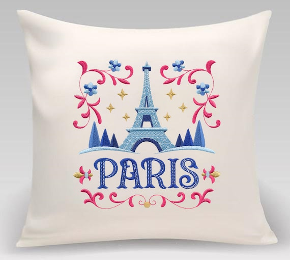 Paris - Embroidered decorative pillow - Home decor - Home and Living 16 x 16 with feather insert