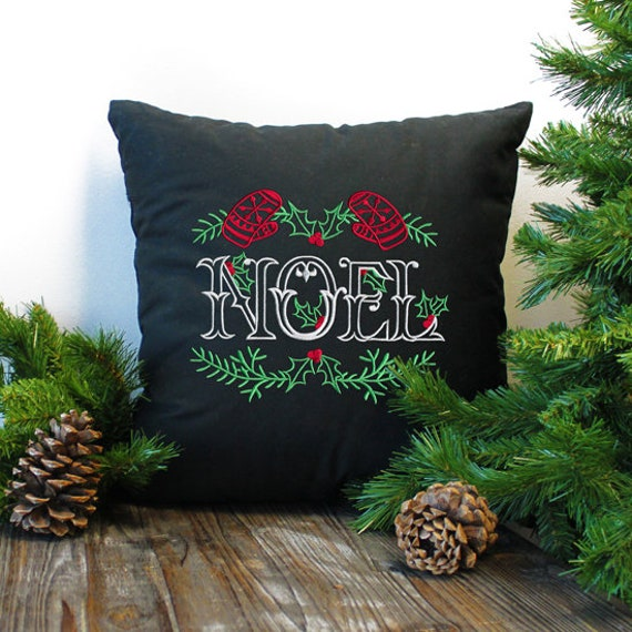 Chalkboard Noel brings a modern twist to your holiday decor - embroidered - home decor- home and living