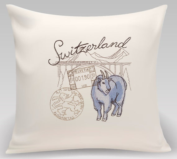 Switzerland-Embroidered decorative pillow - 16 x 16 with insert, Home and Living, Home decor, Decorative pillow