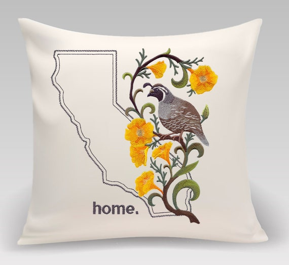 California embroidered  Quail and Poppy-USA State and bird - Wedding Gift - Housewarming gift - Home decor