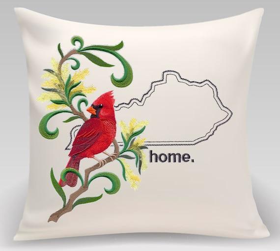 Kentucky Embroidered  Cardinal and Goldenrod Medley-Handmade pillow-Home Decor-Housewarming gift- Wedding gift