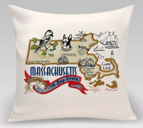 Massachusetts Pillow- Embroidered and Appliqued throw pillow-Throw pillow cover- USA State- Decorative pillow-Home Decor