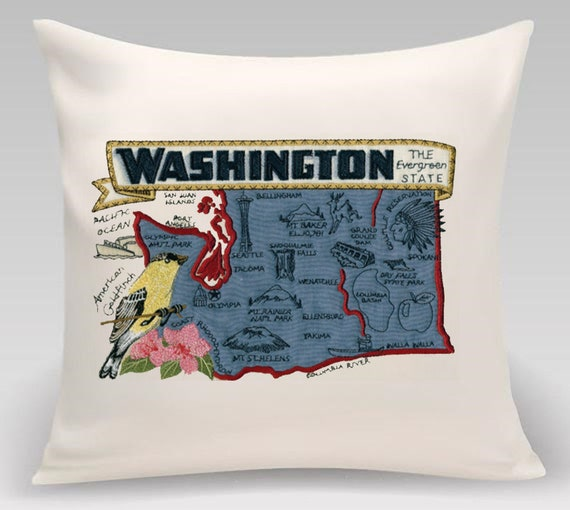 Washington State embroidered decorative pillow- Home decor - USA State -Princeton Threads