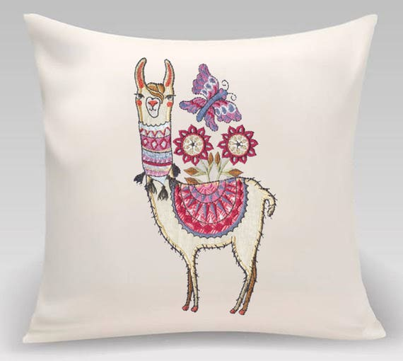 Cute Llama pillow- Embroidered Decorative Pillow- Kids room