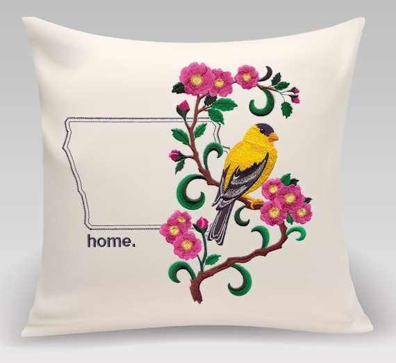 Iowa Embroidered Eastern Goldfinch and Wild Rose Medley-Handmade pillow-Home Decor-Housewarming gift-Wedding gift-Realtor Gift