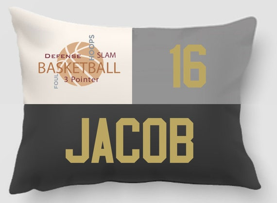 Embroidered and Applique twill personalized sports pillow -Throw pillow cover-Basketball-Sports gift-Handmade pillow-Home decor-Dorm Decor