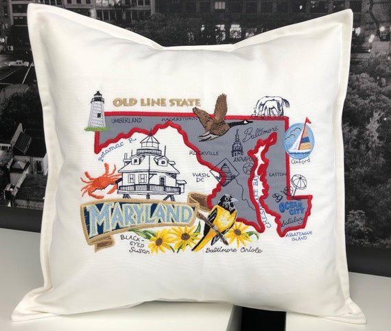 Maryland  Pillow  Decorative Pillow  Embroidered Landmarks Handmade Fully lined with insert
