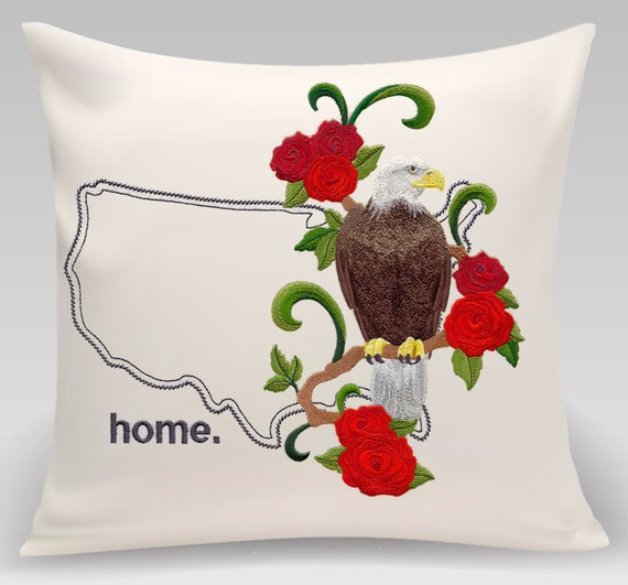 USA embroidered American Eagle and Rose Medley-Handmade pillow-Home decor-Housewarming gift - New citizen gift - Wedding gift