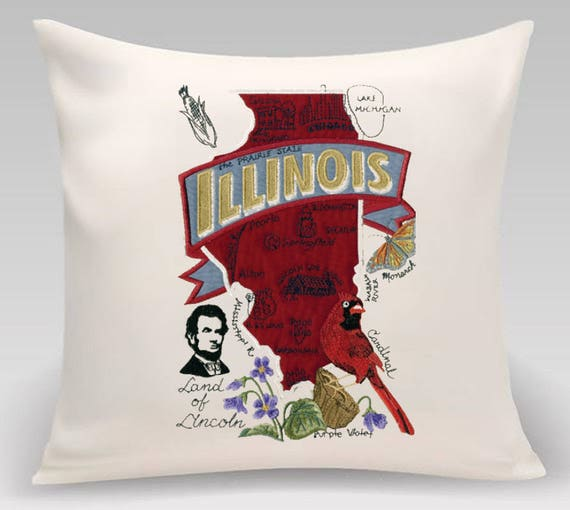 Illinois Pillow- Embroidered and Appliqued throw pillow-USA state - Housewarming gift - Wedding gift