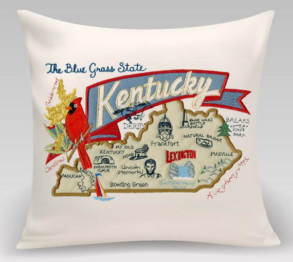 Kentucky Pillow- Embroidered and Appliqued throw pillow- USA State- Decorative pillow-Home Decor -Wedding Gift-Housewarming gift