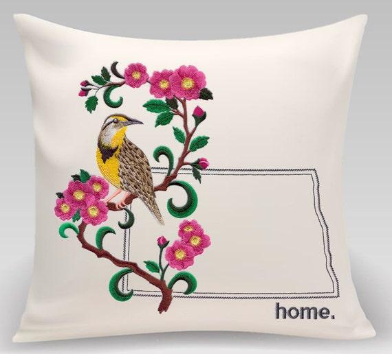 North Dakota embroidered  Western Meadowlark and Prairie Rose Medley-Handmade-Home Decor- Housewarming gift-Wedding gift