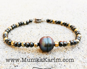 Exquisite Pearl and Pyrite bracelet