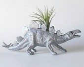 Dinosaur Planter in SILVER + Air Plant
