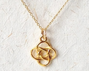 Celtic gold necklace, solid love knot necklace, Welsh charm jewelry, Dainty vermeil Irish pendant necklace, anniversary gift for her