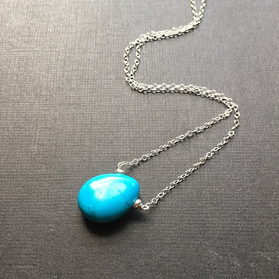 Teardrop Pendant. Turquoise necklace in sterling silver Turquoise Jewelry Silver Necklace Gift for Her
