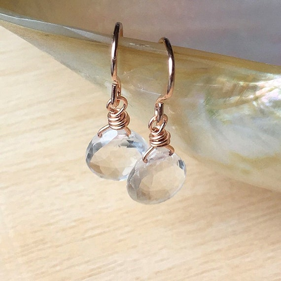 90d8a92c8 Dainty clear quartz crystal earrings with gold rose gold or | Etsy