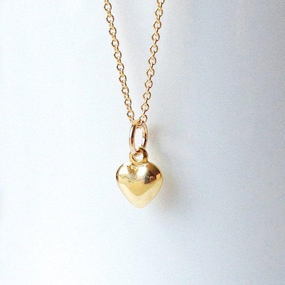 Dainty Gold Heart Pendant Tiny Gold Heart Necklace Small Etsy
