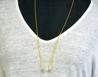 White Pearl on Gold Chain Necklace