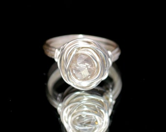 Statement Silver Wire Wrapped Swarovski Crystal Ring