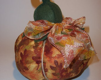 Pumpkin with Autumnal Fabric and Ribbon
