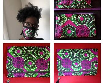 Face Masks, Clutches, Handbag Set, Matching Sets, Afrocentric Masks