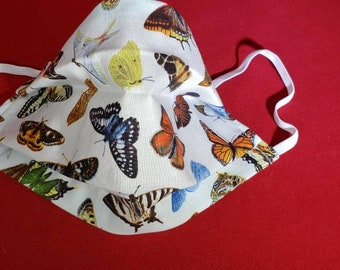 FaceMask, WomenFaceMask, FaceCovering, ButterflyFaceMask, ColorfulFaceMask, WashableCotton, USAMade, TravelMask, FastShipping, Protective