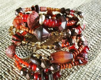 7 Strand Wrap-Around Bracelet #wraparoundbracelet, #africanbeadedbracelet, #semipreciousbracelet, #presentforme, #birthdaypresent