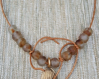 Brass Mask and African Beads Necklace