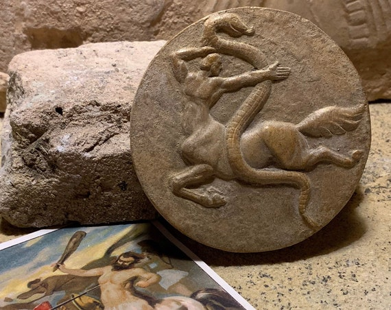 Centaur and serpent / snake - Greek / Roman mythology - relief amulet