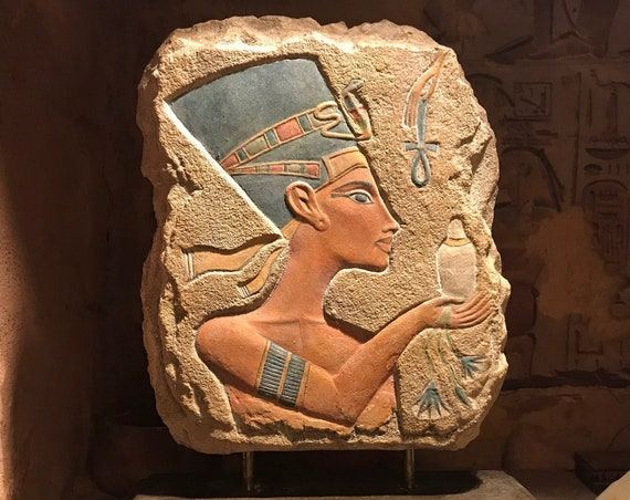 Egyptian art - Nefertiti Amarna period relief sculpture replica. 18th dynasty