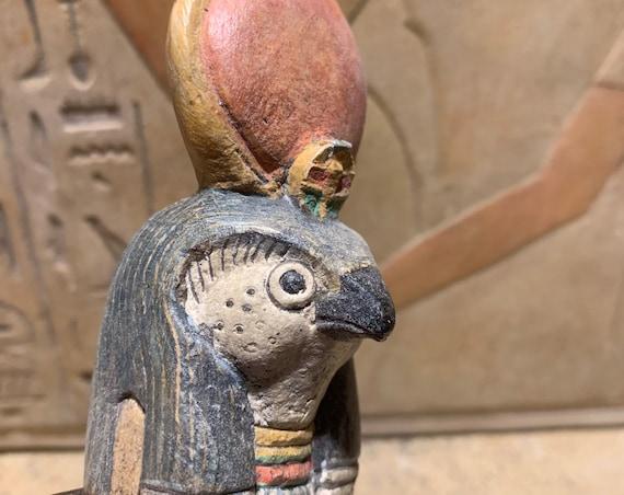 Egyptian statue / sculpture replica of Ra the sun god.