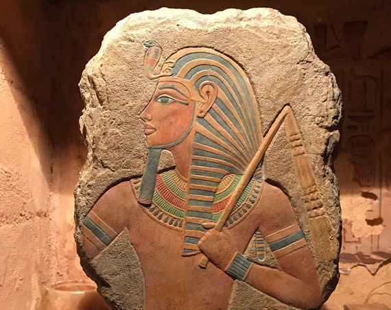 Tutankhamun - Egyptian sculpture / art - King Tut / Tutankhamen relief sculpture carving replica