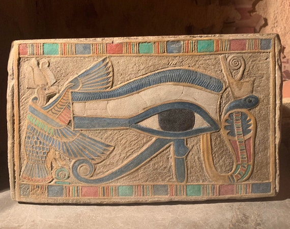 Egyptian eye of Horus - Egyptian painting - wall relief sculpture / art