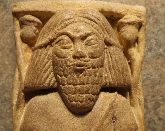 Biblical history fragment - King Hazael of Damascus. Arslan Tash relief carving / sculpture replica. Mesopotamia