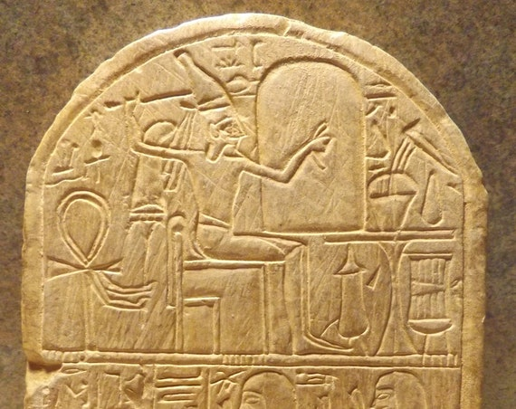 Egyptian art - Relief sculpture of Pashedu - 19th dynasty votive stele featuring the Cannanite deity Reshef / Reshep