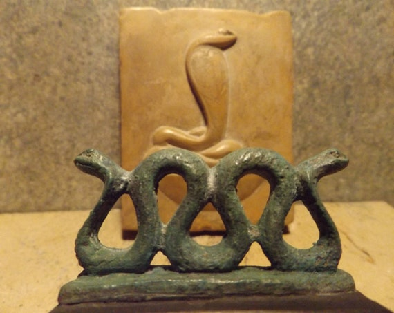 Egyptian statue and relief - Serpent of the Nile - cobra statuette amulet - Wadjet / Buto Egyptian mythology art  & sculpture