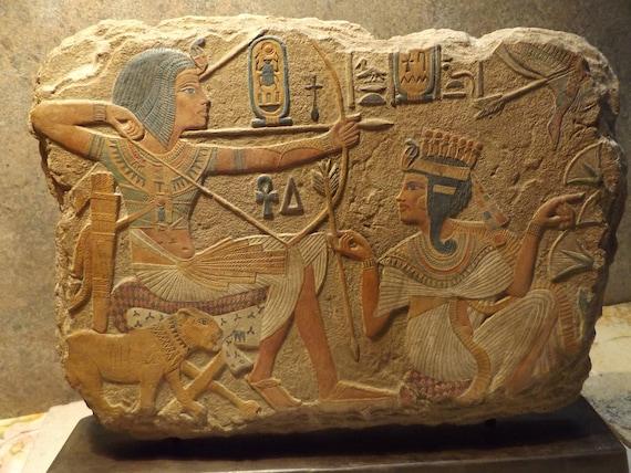 Egyptian Art / Relief Sculpture - Tutankhamun / Tutankhamen & his Queen 18th dynasty