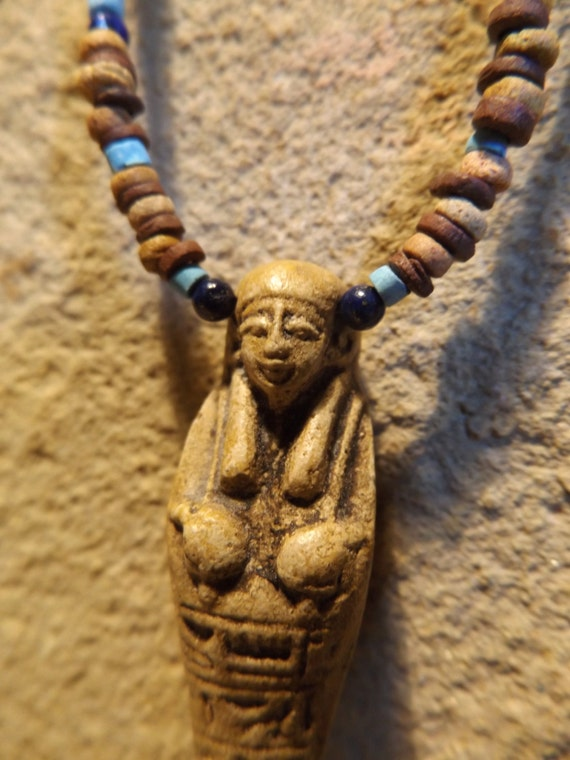 Egyptian art - Ushabti / Shabti statue necklace with clay & faience beads