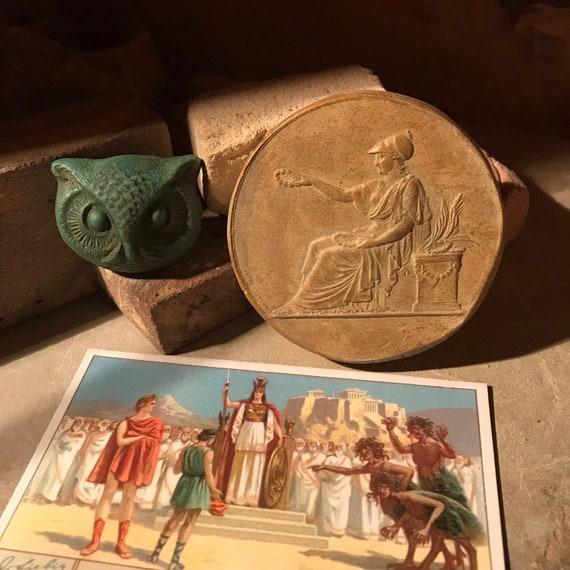 Athena / Athene Greek goddess & mascot owl replica amulet from the mythology of ancient Greece
