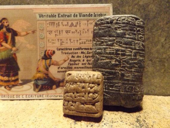 Sumerian cuneiform writing tablets - replica set. Ancient writing of Mesopotamia