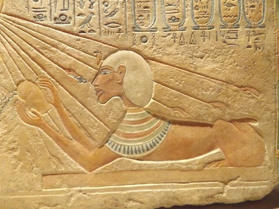 Akhenaten - Egyptian art replica - Amarna Sun Pharaoh / King form of a Sphinx