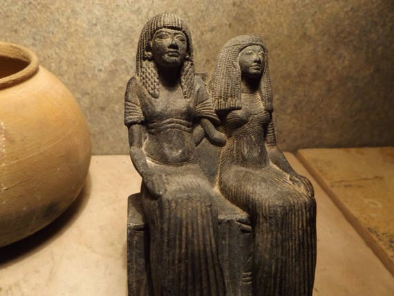 Egyptian statue / sculpture - museum replica -seated couple - Late 18th / Early 19th dynasty