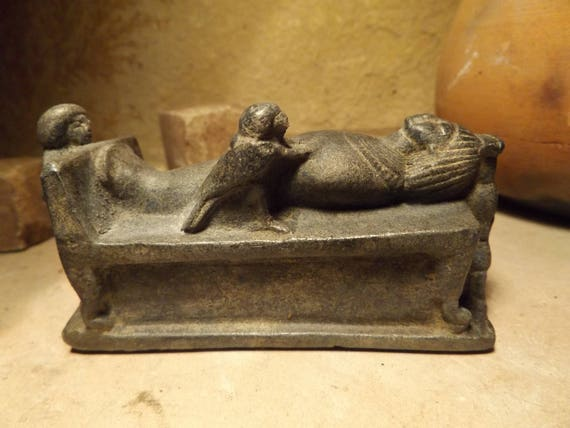 Egyptian statue / sculpture - ushabti mummy figure with Ba soul bird, and the sister goddesses Isis & Nepthys - 18th dynasty art