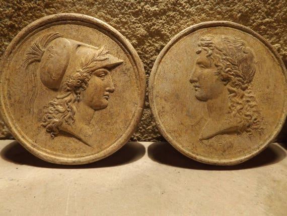 Athena & Apollo - Greek / Roman art / mythology - Highly detailed amuletic discs